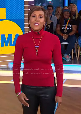 Robin's red turtleneck sweater on Good Morning America