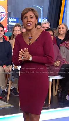 Robin's burgundy ribbed v-neck dress on Good Morning America
