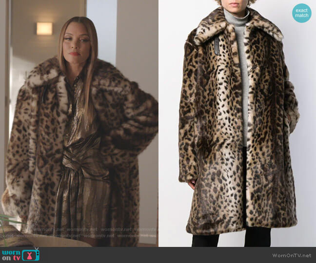 Leopard-Print Faux Fur Coat by Rokh worn by Dominique Deveraux (Michael Michele) on Dynasty