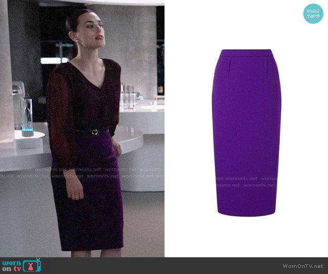 Roland Mouret Arreton Skirt worn by Lena Luthor (Katie McGrath) on Supergirl