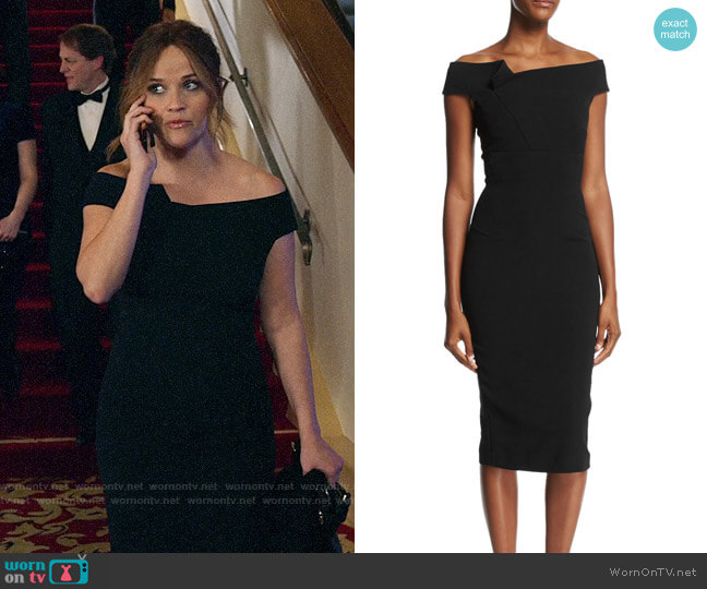 Roland Mouret Off-the-Shoulder Sheath Dress worn by Bradley Jackson (Reese Witherspoon) on The Morning Show
