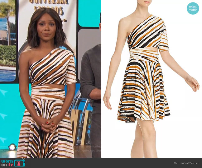 Karida One-Shoulder Striped Dress by Ronny Kobo worn by Zuri Hall  on Access Hollywood