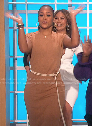 Eve's brown rope belted dress on The Talk