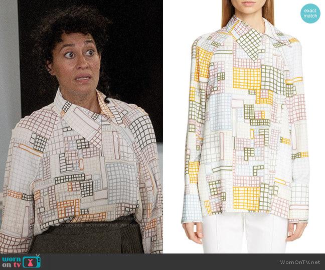 Rosetta Getty Grid Print Asymmetrical Blouse worn by Rainbow Johnson (Tracee Ellis Ross) on Blackish