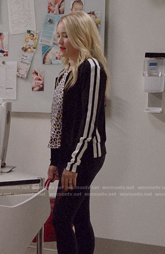 Roxy's black and white track jacket on Almost Family