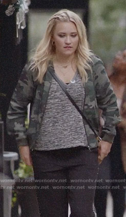 Roxy's camo bomber jacket on Almost Family