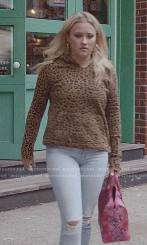 Roxy's leopard print hoodie on Almost Family