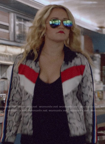 Roxy's snake print track jacket on Almost Family