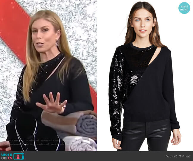 Teagan Cutout Sequin Sweater by RtA worn by Jill Martin  on Today