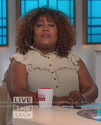 Sheryl's green ruffled top on The Talk