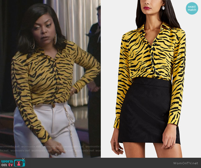 Tiger-Print Silk Blouse by Saint Laurent worn by Cookie Lyon (Taraji P. Henson) on Empire