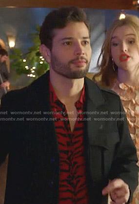 Monica's red asymmetric midi dress on Dynasty