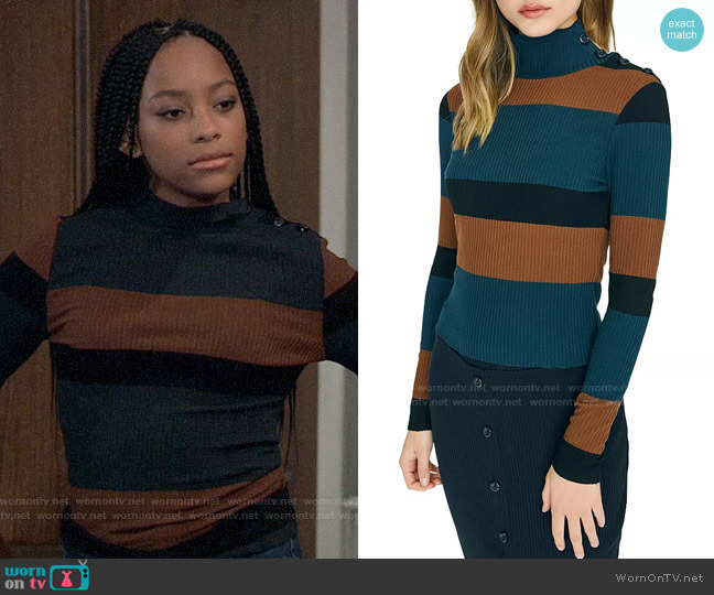 Sanctuary Striped Turtleneck Sweater worn by Trina (Sydney Mikayla) on General Hospital