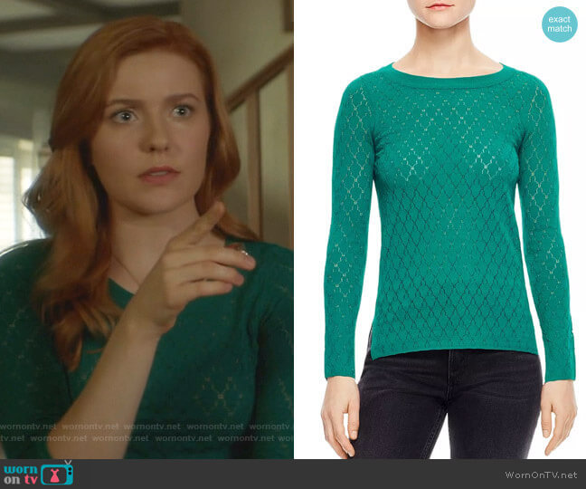 Anabelle Pointelle Sweater by Sandro worn by Nancy Drew (Kennedy McMann) on Nancy Drew