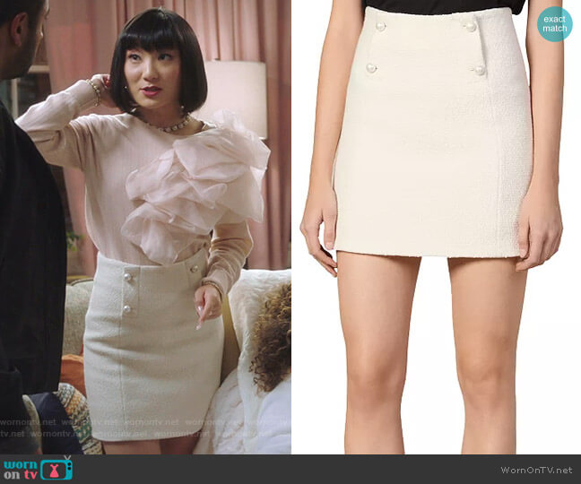 Dayna Button-Front Tweed Mini Skirt by Sandro worn by Mei Lin (Poppy Liu) on Sunnyside