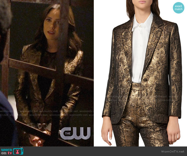 Sandro Floral Brocade Notch Lapel Blazer worn by Abigael Jameson-Caine (Poppy Drayton) on Charmed