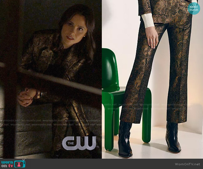 Sandro Goldy Brocade Cropped Pants worn by Abigael Jameson-Caine (Poppy Drayton) on Charmed