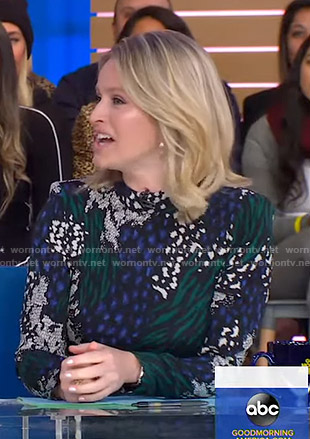 Sara's mixed print long sleeve dress on Good Morning America