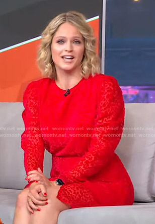Sara's red burnout leopard print dress on GMA Strahan Sara And Keke