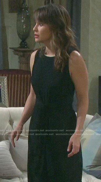 Sarah's black sleeveless tie waist jumpsuit on Days of our Lives