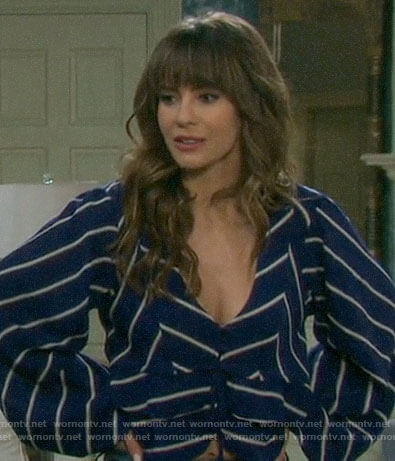 Sarah's blue striped cropped blouse on Days of our Lives