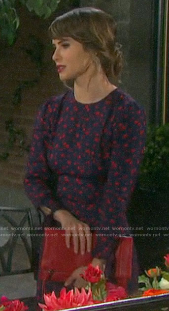 Sarah's navy and red floral dress  at Lani's wedding on Days of our Lives