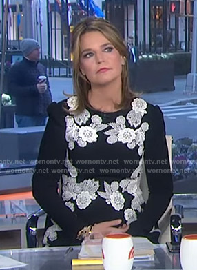Savannah's black floral embroidered dress on Today