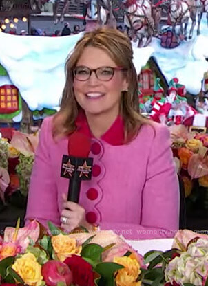 Savannah's pink and red contrast coat at Macy's Thanks Giving Parade