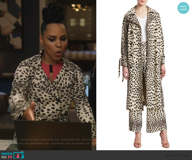 Leo Leopard Double Breasted Trench Coat by Sea worn by Tegan Price (Amirah Vann) on HTGAWM