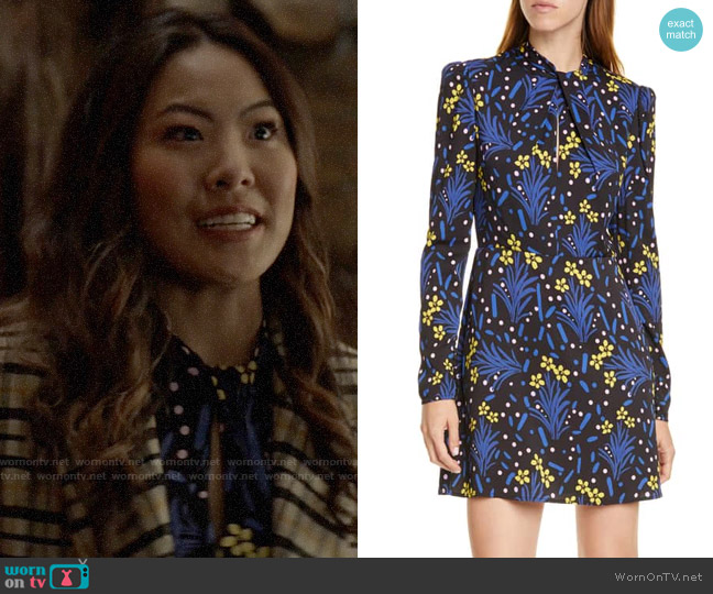 Self Portrait Floral Long Sleeve Jersey Crepe Minidress worn by Mary Hamilton (Nicole Kang) on Batwoman