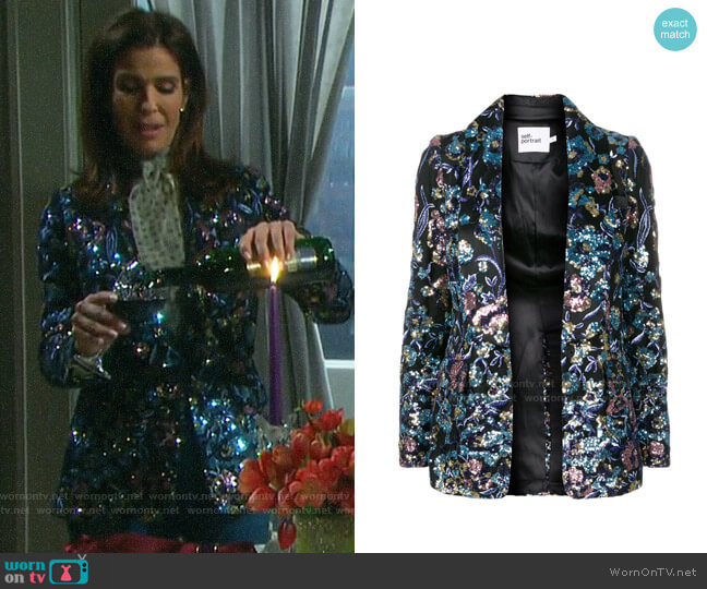 Self Portrait Sequin Blazer worn by Hope Williams (Kristian Alfonso) on Days of our Lives