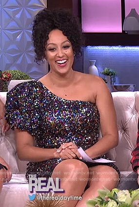 Tamera's one shoulder sequin dress on The Real