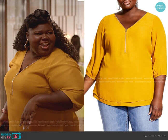 Sexy Fling Zip Front Top by City Chic worn by Becky (Gabourey Sidibe) on Empire