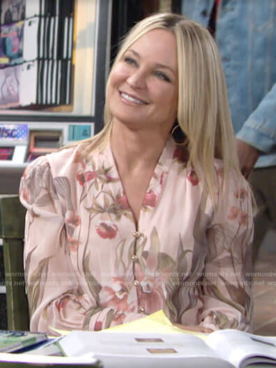 Sharon's blush floral v-neck blouse on The Young and the Restless
