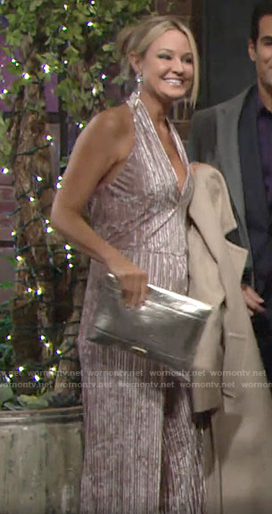 Sharon's velvet halter jumpsuit on The Young and the Restless