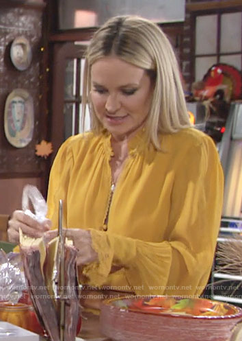 Sharon's yellow ruffle trim blouse on The Young and the Restless