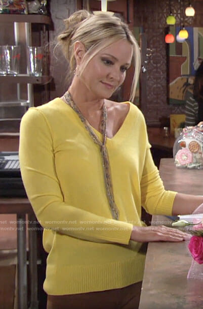 Sharon's yellow v-neck sweater on The Young and the Restless