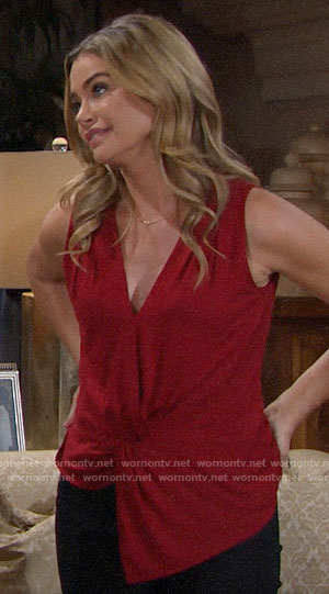 Shauna's red knot front top on The Bold and the Beautiful