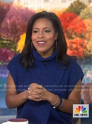 Sheinelle's blue ribbed turtleneck sweater on Today