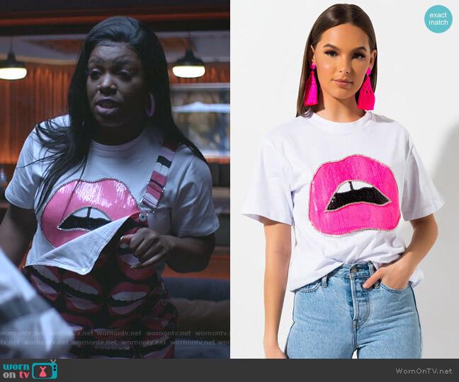 Bite Me Lip T-Shirt by Akira Label worn by Porsha Taylor (Ta'Rhonda Jones) on Empire