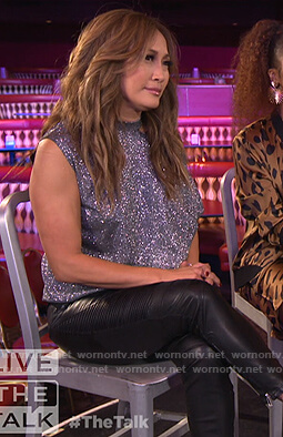 Carrie's silver metallic cutout top on The Talk