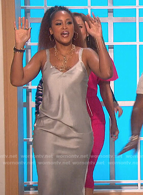 Eve's silver satin dress on The Talk