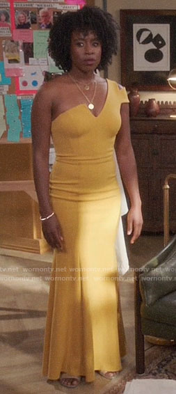 Simone's yellow one-shoulder gown on The Good Place