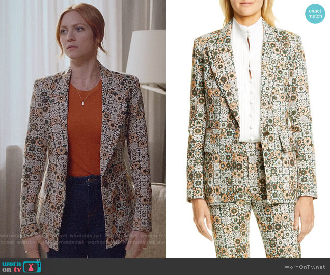 Smythe Lounge Blazer in Graphic Floral worn by Julia Bechley (Brittany Snow) on Almost Family