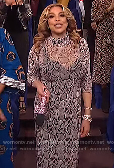 Wendy's white snakeskin midi dress on The Wendy Williams Show