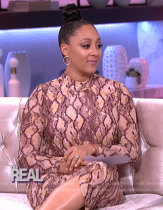 Tamera's snakeskin print midi dress on The Real
