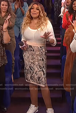 Wendy's snakeskin print midi skirt on The Wendy Williams Show