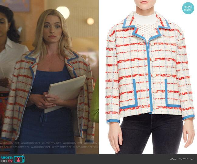 Idaline Tweed Crop Jacket by Sandro worn by Alison B (Brianne Howey) on Dollface