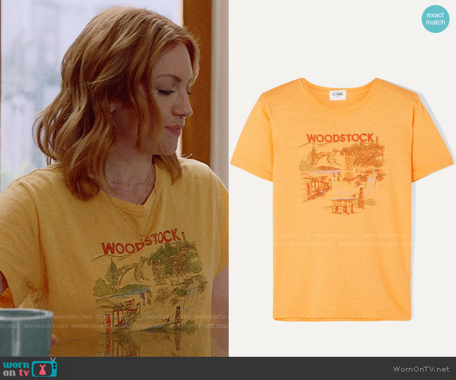 Solid & Striped + Re/Done Woodstock printed cotton T-shirt  worn by Julia Bechley (Brittany Snow) on Almost Family