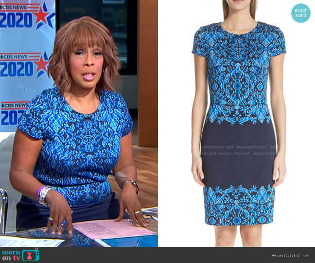 Cool Tones Brocade Knit Dress by St John Collection worn by Gayle King  on CBS This Morning